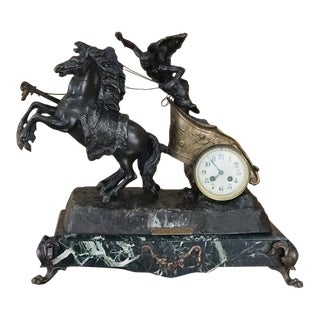 19th Century Mantel Clock of Roman Chariot on Marble Base For Sale