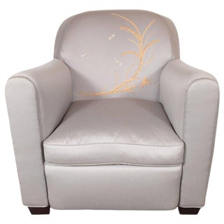 Art Deco Armchair with Metallic Silver Upholstery and Embroidered Fauna Motifs For Sale