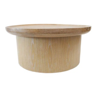 Modern Round Coffee Table in Cerused Oak by Martin and Brockett For Sale