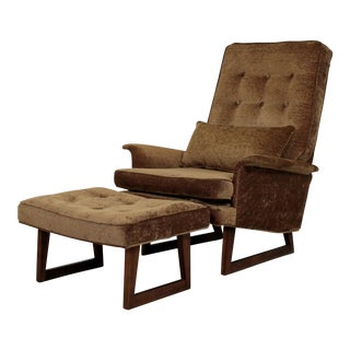 1970s Danish Sculptural Mid Century Modern Dux Lounge Armchair & Ottoman For Sale