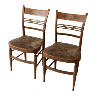 Antique Painted Rush Seat Chairs - Set of 2