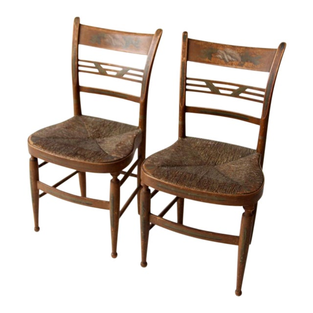 Antique Painted Rush Seat Chairs - Set of 2 - Antique Painted Rush Seat Chairs - Set Of 2 Chairish