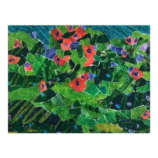 Contemporary Poppy Field Original Collage by Nancy Smith For Sale