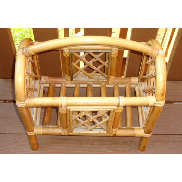 Mid-Century Bamboo Bentwood Rattan Magazine Rack For Sale - Image 4 of 7