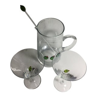 """Hand-Blown """"Olives"""" Martini Set of 4 For Sale"""
