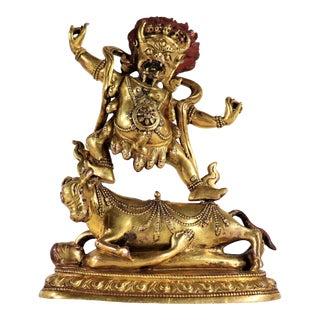 20th Century Tibetan Gilt Bronze Tantric Yama Dharmaraja Buddha For Sale