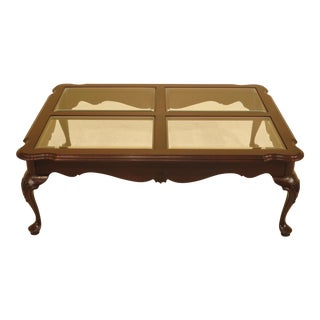 1990s Queen Anne Ethan Allen Georgian Court Cherry Large Coffee Table For Sale