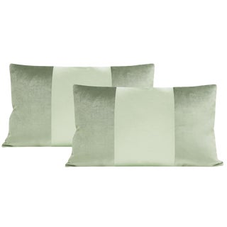 "12""x18""Pistachio Velvet & Silk Panel Lumbar Pillows - a Pair For Sale"