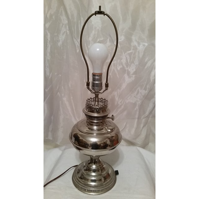 Vintage Repurposed Silver Rayo Table Lamp With Shade - Image 3 of 7