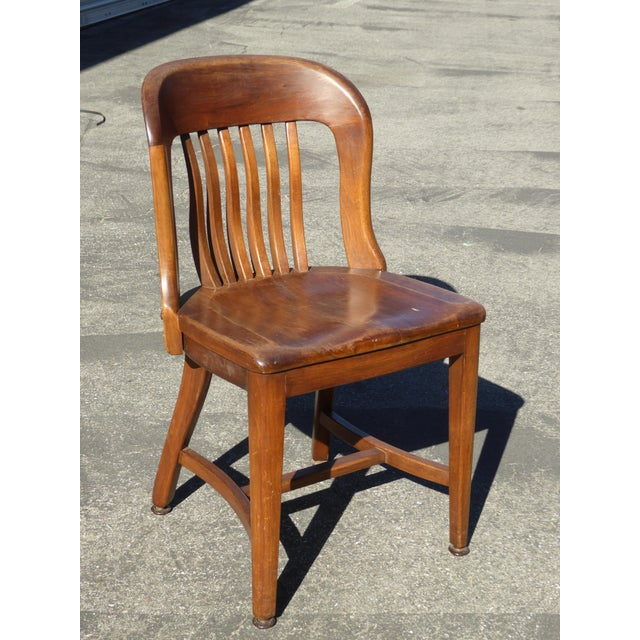 Set of 4 Vintage Mid-Century Brown Solid Wood Farmhouse Chic Library School House Chairs - Image 7 of 11