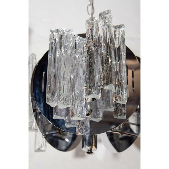 1960s Mid-Century Modern Sculptural Ice Glass Chandelier by Salviati For Sale - Image 5 of 8