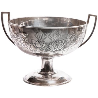 Meiji Japanese Repousse Silver Shigemitsu Signed Large Footed Bowl For Sale