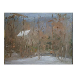 """Snow-Covered Roof in the Woods"", Contemporary Painting by Stephen Remick For Sale"