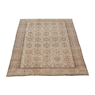 "Vintage Turkish Overdyed Distressed Wool Hand Knotted Rug - 9'5""x7'1"" For Sale"