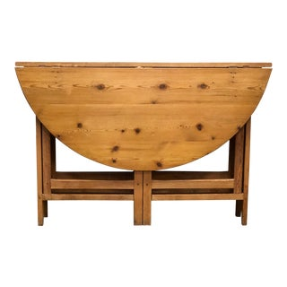 18th Century Swedish Pine Drop Leaf Table For Sale