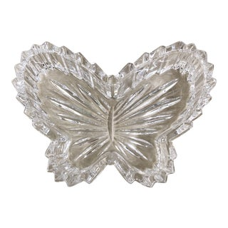 Vintage Glass Butterfly Dish For Sale