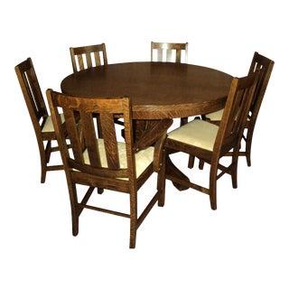 Antique Arts & Crafts Mission Oak Dining Set - Set of 7 For Sale