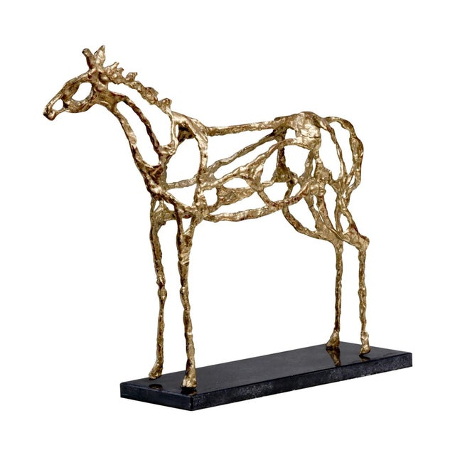 Gold Brutalist Horse Sculpure on Stone Base - Image 2 of 2