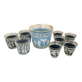 Mid-Century Glasses & Ice Bowl - Bar Cart Set of 9