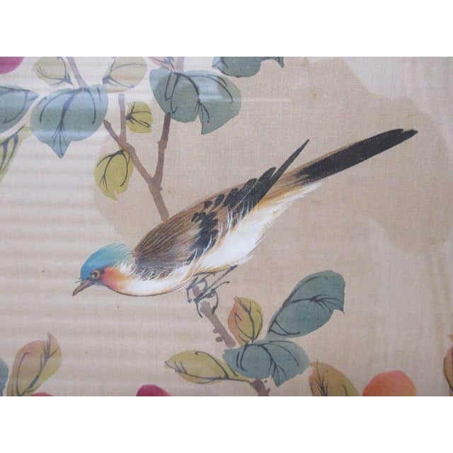 Vintage Blue and Brown Bird Painting With Bamboo Style Wood Frame With Glass Size: 16 x 14 x 1