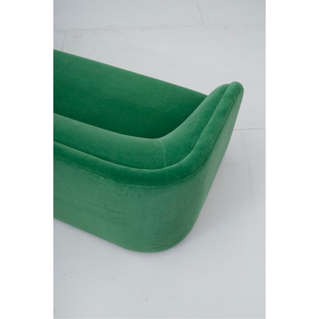 Green Post Modern Barrel Back Settee in Green Mohair For Sale - Image 8 of 9