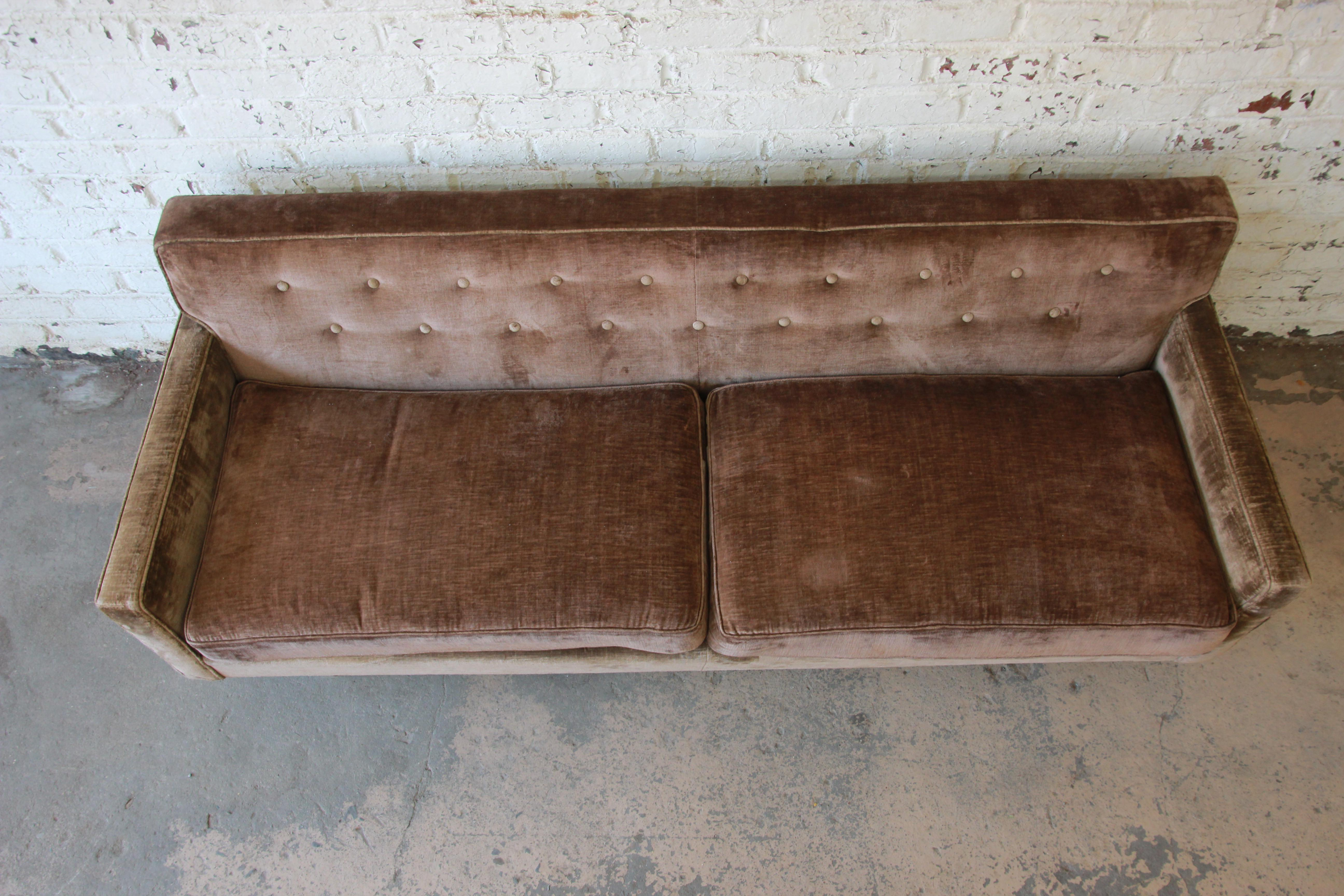 Superieur Baker Furniture Mid Century Tufted Brown Velvet Sofa For Sale   Image 5 Of  12