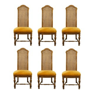 Hibriten Furniture Italian Neoclassical Cane Back Dining Side Chairs - Set of 6 For Sale