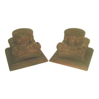 19th Century Hand Carved Walnut Plateau Capitals - Pair For Sale