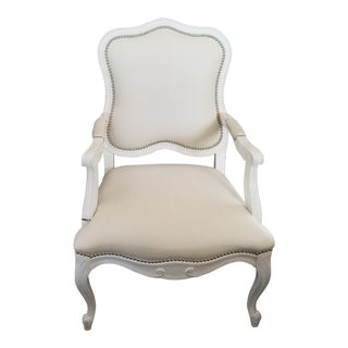 Uttermost Willa Pearl White Bergere Chair with Nailheads For Sale