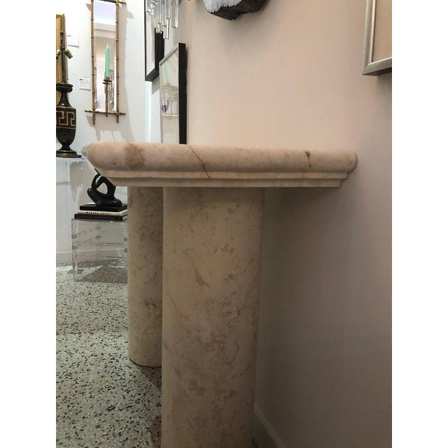 1980s Italian Sandstone Double Pedestal Console Tables - a Pair For Sale - Image 5 of 13