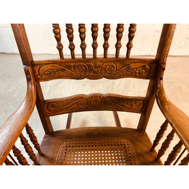 Brown Quarter-Sawn Oak Hand Carved Rocking Chair For Sale - Image 8 of 13