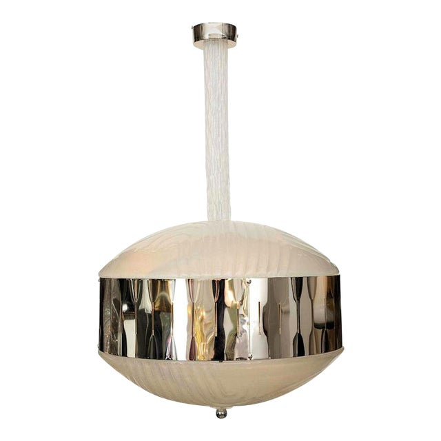 Mid-Century Modern Murano Glass Chandelier With Chrome, Attr to Mazzega For Sale