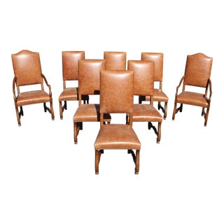 Large Set of 8 French Louis XIII Style Os De Mouton Solid Walnut Dining Chairs.