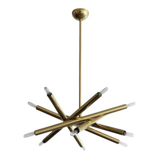 Six-Arm Raw Brass Spiral Chandeliers For Sale