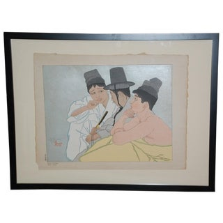 Paul Jacoulet Three Koreans Woodblock Print C.1935 For Sale