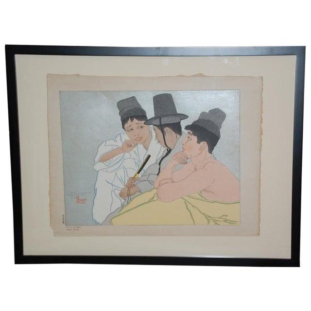 Paul Jacoulet Three Koreans Woodblock Print C.1935 For Sale