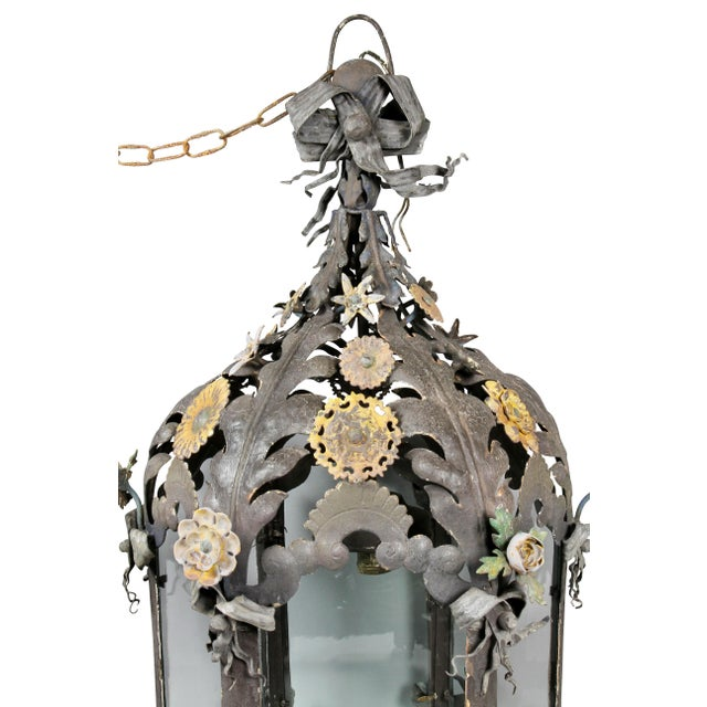 Italian Painted Tole Hanging Lantern For Sale - Image 4 of 12