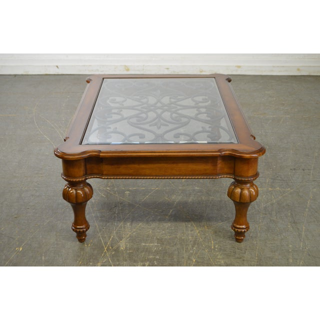 French Provincial Coffee Table For Sale: Ethan Allen French Country Style Glass & Scrolled Iron Top