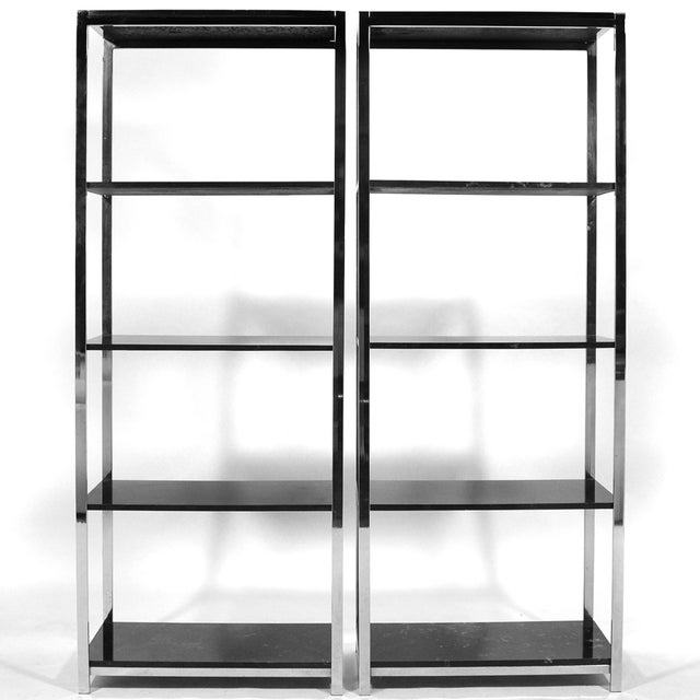 Pair of Chrome Framed Etageres in the Manner of Milo Baughman - Image 11 of 11