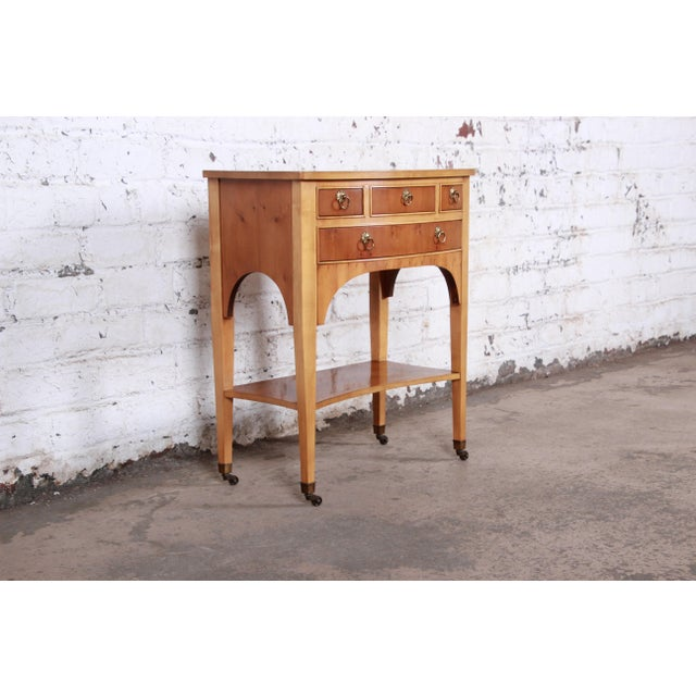 Late 20th Century Baker Furniture Neoclassical Burl Wood Entry Table For Sale - Image 5 of 13