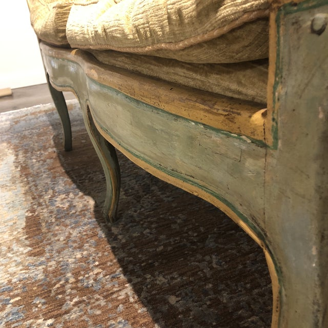 Green Mid 19th Century Antique Camelback Piedmont Italian Sofa For Sale - Image 8 of 12