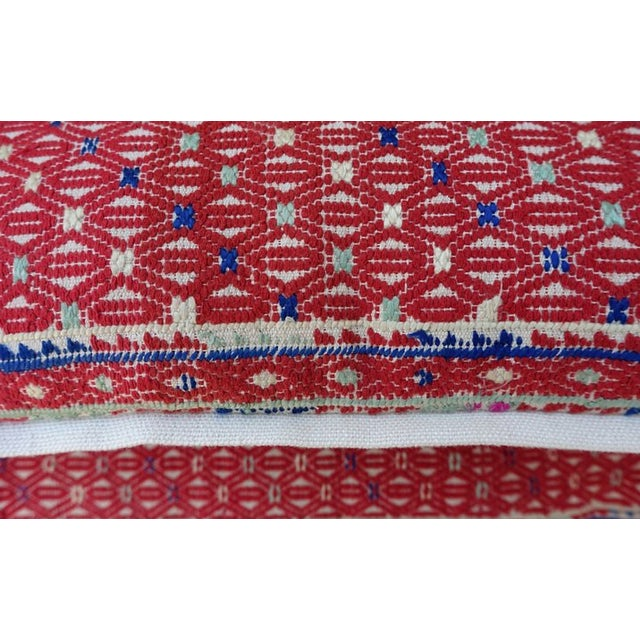 Red Woven Cotton Hmong Pillows - A Pair - Image 4 of 6