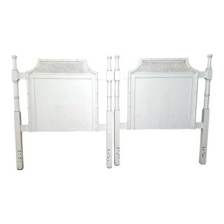 Chinoiserie Pagoda Faux Bamboo Twin Headboards - a Pair For Sale