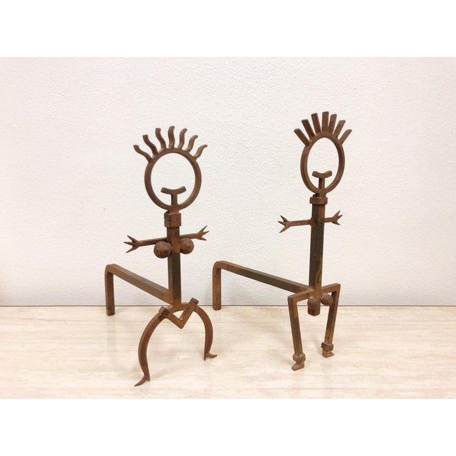 Pair of Brutalist Male and Female Fireplace Andirons For Sale - Image 4 of 6