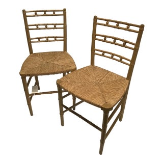 19th Century Faux Bamboo Chairs- A Pair For Sale