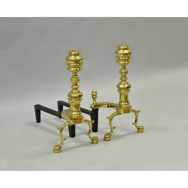 Item: Pair of Vintage The Harvin Co Brass Chippendale Style Andirons Details: Brass construction, Cast iron supports,...