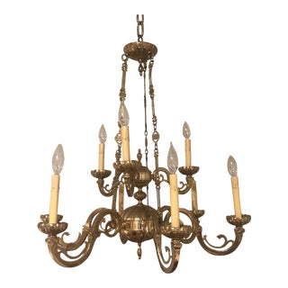 Brass Colonial 9 Lite 2 Tiered Chandelier For Sale