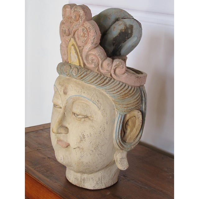 1930s Chinese Guan Yin Wood Head With Muti Color Headdress For Sale - Image 4 of 5