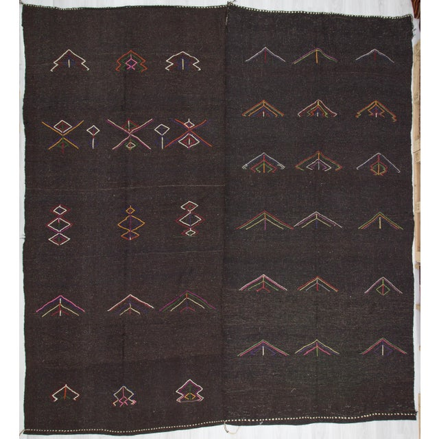 Embroidered Dark Brown Goat Hair Kilim Rug - 11′7″ × 12′6″ For Sale In Los Angeles - Image 6 of 6