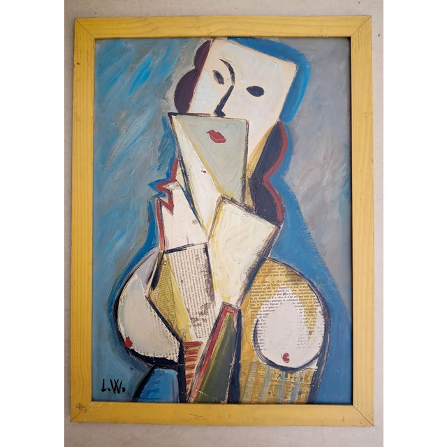 Mid 20th Century Portrait of Cubist Style Abstract Female Mixed-Media Collage, Framed For Sale - Image 11 of 11